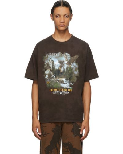 Хлопковая с рукавами черная рубашка с короткими рукавами с воротником Phipps