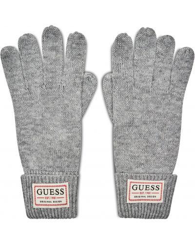 Szare rękawiczki z akrylu Guess