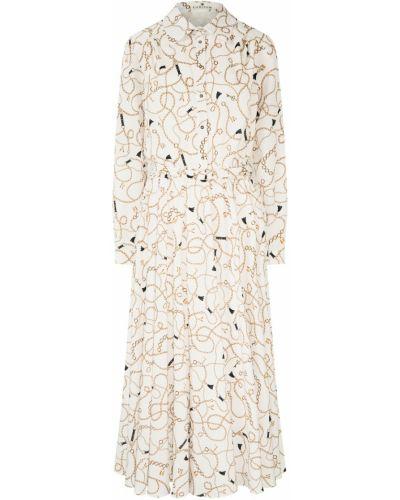 Платье миди с принтом - белое Laroom