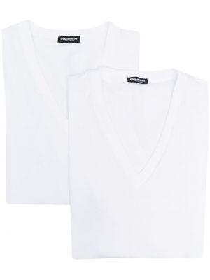 Biały t-shirt bawełniany krótki rękaw Dsquared2