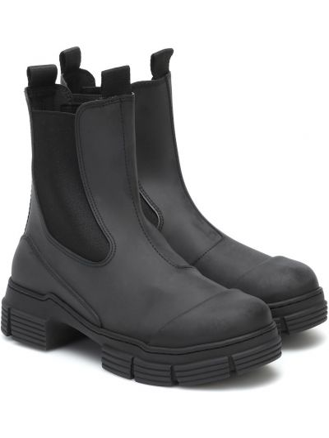 Czarne ankle boots Ganni