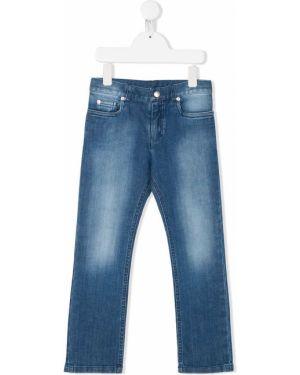 Niebieskie jeansy skorzane z paskiem Baby Dior
