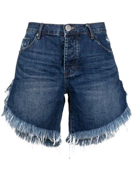 Хлопковые с завышенной талией джинсовые шорты с бахромой One Teaspoon