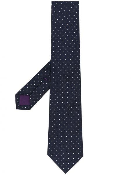 Синяя шелковая резинка для волос в горошек Ralph Lauren