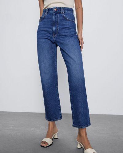 Синие укороченные джинсы с высокой посадкой с карманами Zara