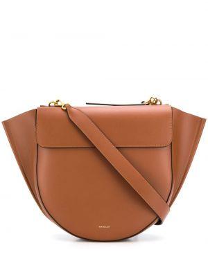 С ремешком коричневая сумка-тоут из натуральной кожи Wandler