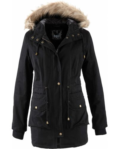 Куртка с капюшоном черная спортивная Bonprix