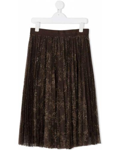 Коричневая плиссированная юбка миди из вискозы Ermanno Scervino Junior