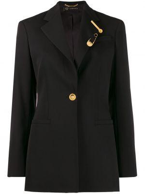 Шерстяной черный пиджак с карманами Versace