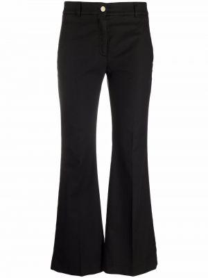 Хлопковые черные укороченные брюки стрейч Incotex