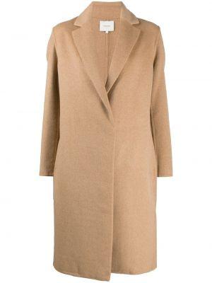 Коричневое шерстяное длинное пальто с лацканами с карманами Vince.