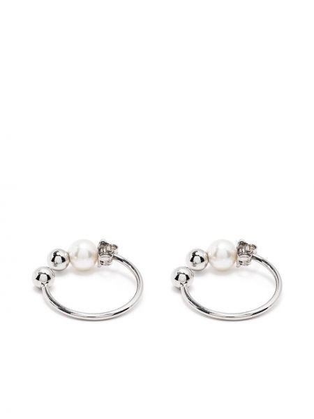 Białe kolczyki sztyfty perły srebrne Dheygere
