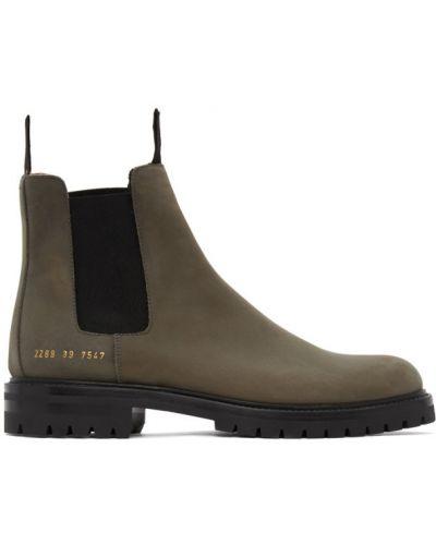 Замшевые черные ботинки челси на каблуке Common Projects