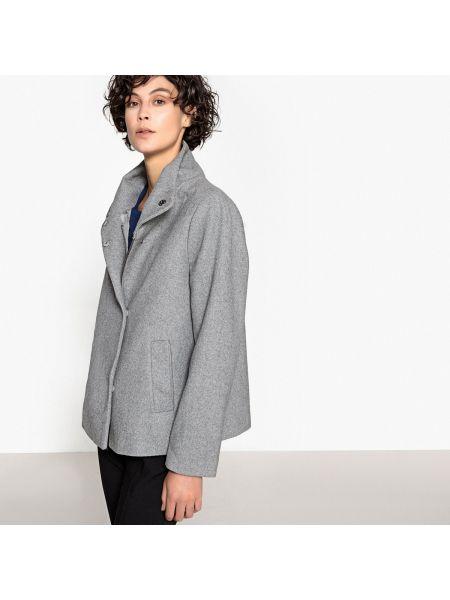 Укороченное пальто шерстяное с воротником La Redoute Collections