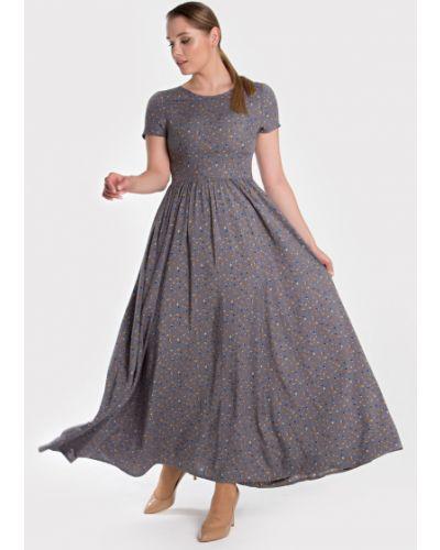 Расклешенное приталенное летнее платье из штапеля на молнии Filigrana