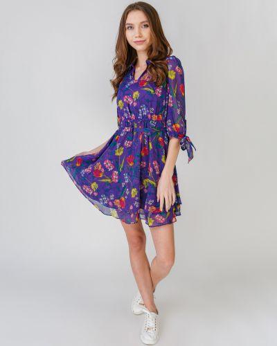 Шифоновое платье с оборками с подкладкой Only