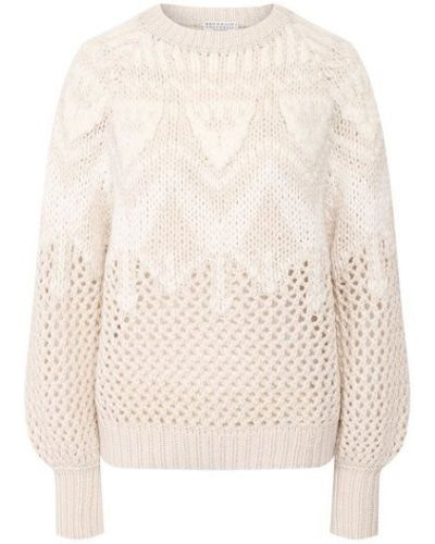Мягкий белый шелковый свитер с пайетками Brunello Cucinelli