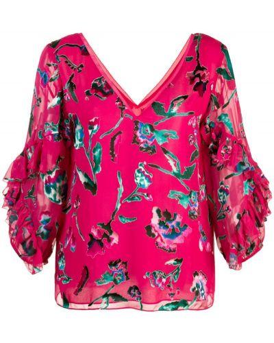Блузка розовая с цветочным принтом Tanya Taylor