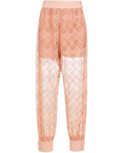 Гипюровые прямые брюки с завышенной талией НК