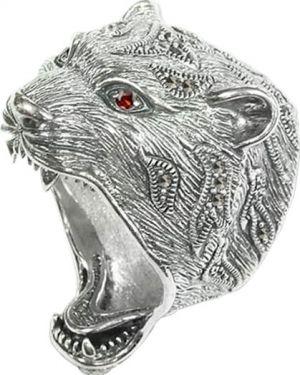 Кольцо серебряный с декоративной отделкой марказит
