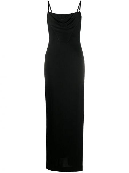 Jedwab czarny z paskiem długo sukienka na paskach Alexander Wang
