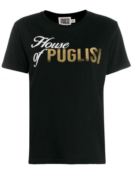 Футболка черная с логотипом Fausto Puglisi