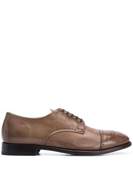 Кожаные коричневые дерби на шнуровке Silvano Sassetti