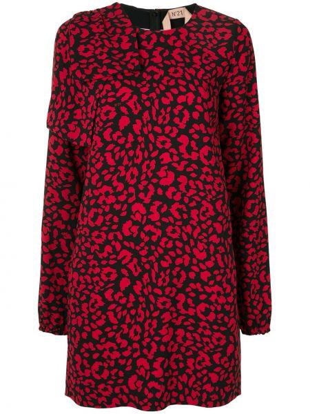 Прямое красное платье мини с вырезом N°21
