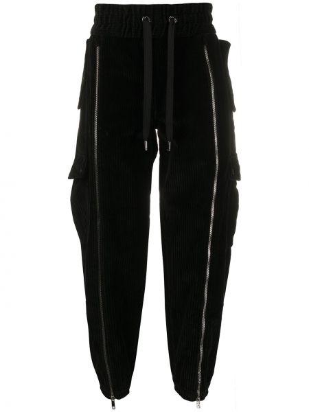 Ze sznurkiem do ściągania bawełna bawełna czarny spodnie Dolce And Gabbana