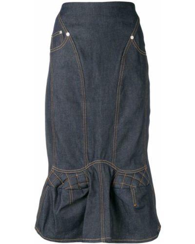 Джинсовая юбка с баской с завышенной талией Marine Serre