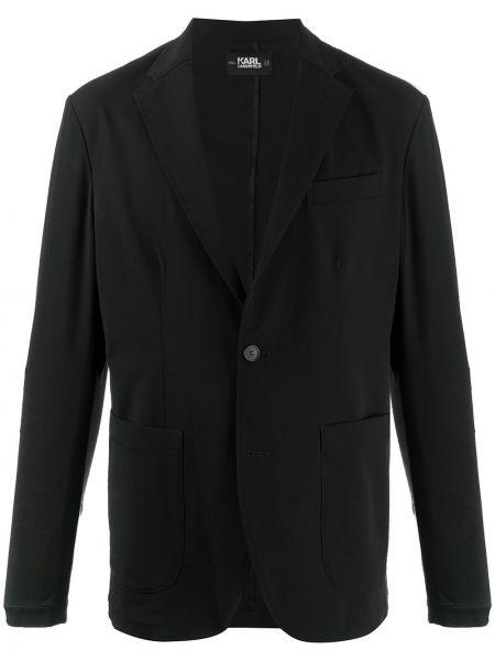 Черный удлиненный пиджак с лацканами Karl Lagerfeld