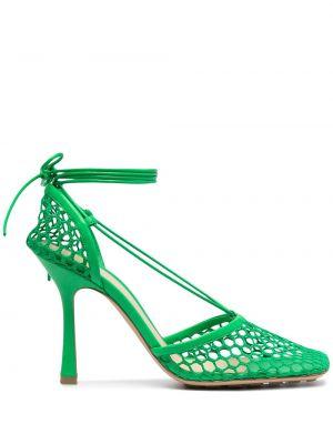 Skórzany markowe zielony gumka do włosów prążkowany Bottega Veneta