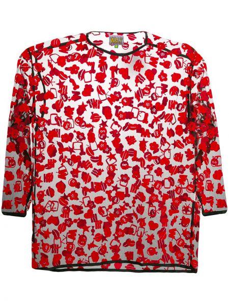 Прямая красная футболка прозрачная из вискозы Walter Van Beirendonck Pre-owned