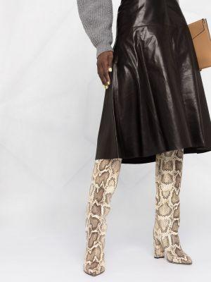 Черная с завышенной талией кожаная юбка Arma