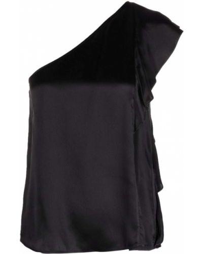 Шелковая черная блузка с драпировкой Lautre Chose