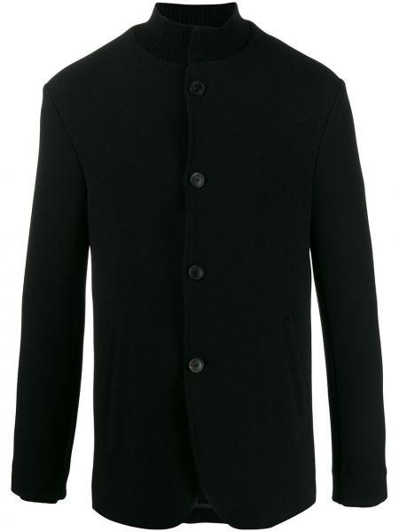 Długa kurtka czarna z guzikami Emporio Armani