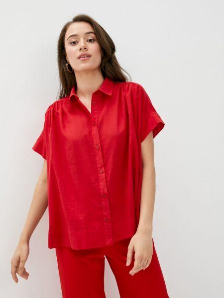 Красная рубашка с коротким рукавом с лебяжьим пухом Gabriela