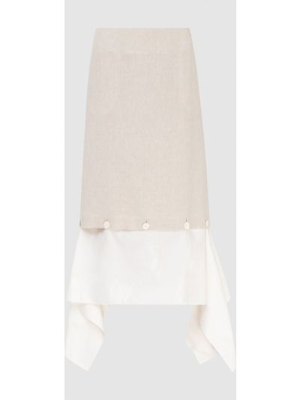 Льняная бежевая юбка миди Lanvin