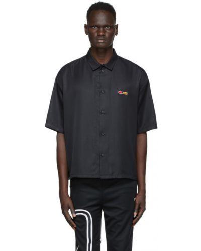 Черная рубашка с коротким рукавом с воротником с вышивкой с короткими рукавами Reebok By Pyer Moss