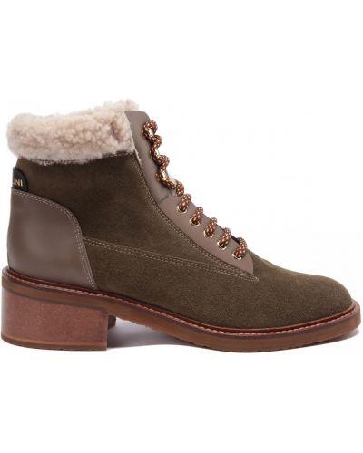 Кожаные ботинки на шнуровке круглые Pollini