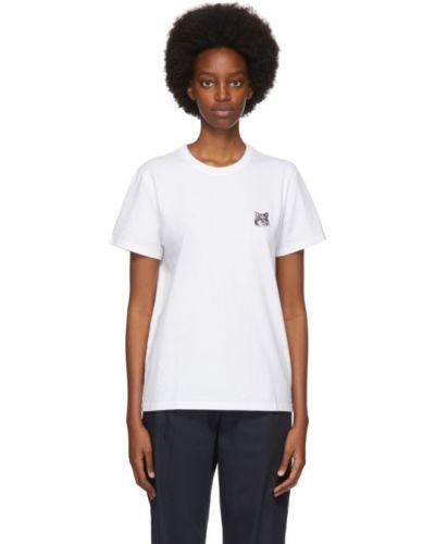 Черная классическая рубашка с вышивкой с воротником с короткими рукавами Maison Kitsuné