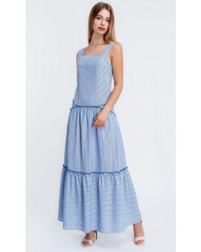 Синее платье с принтом Helena