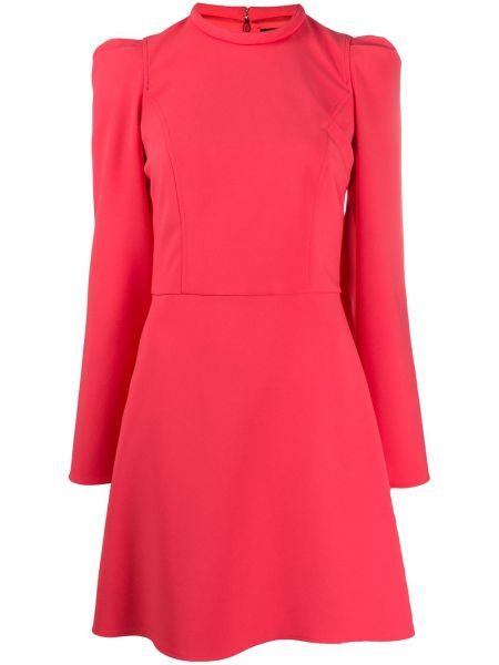 Розовое прямое приталенное платье мини круглое Elisabetta Franchi