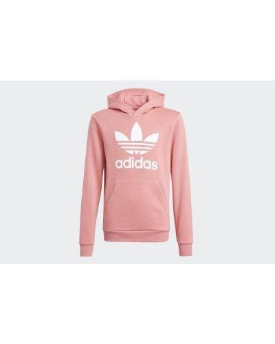 Różowa bluza długa z kapturem z długimi rękawami Adidas