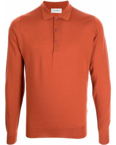 Оранжевая рубашка с воротником John Smedley
