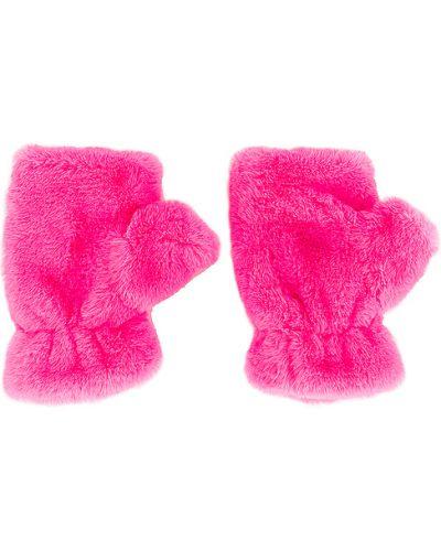 Różowy rękawiczki sztuczne futro Apparis