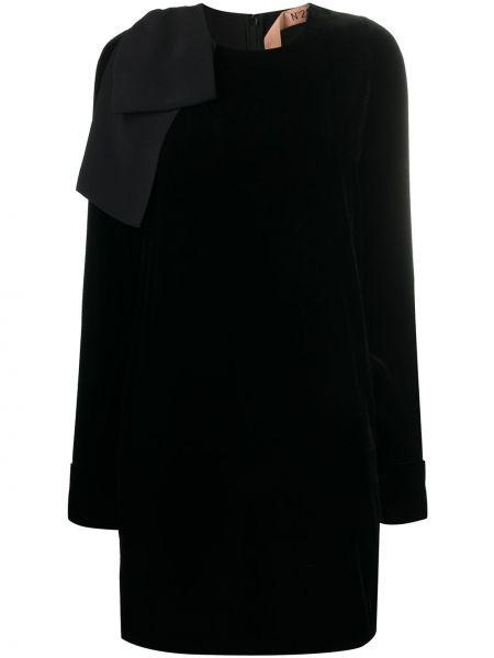Шелковое черное платье мини трапеция N°21
