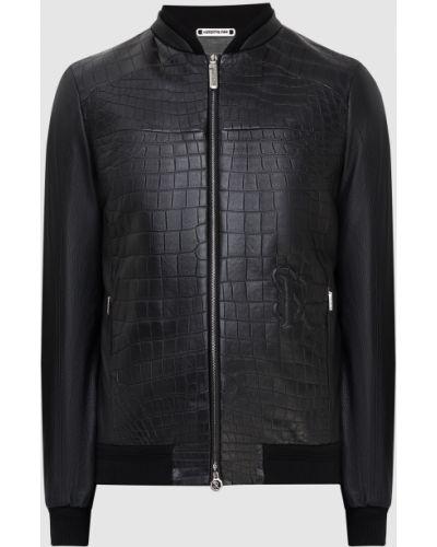 Кожаная куртка из крокодила - черная Stefano Ricci
