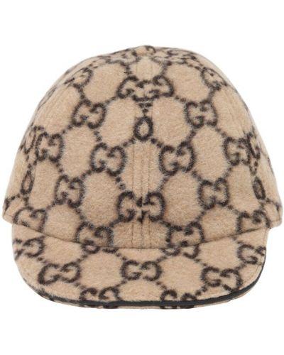 Baseball beżowy z paskiem wełniany kapelusz Gucci