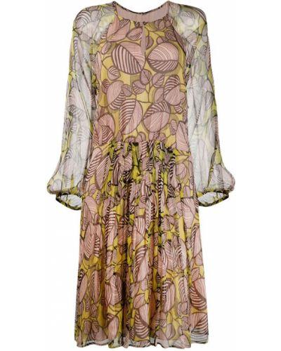 Платье миди в цветочный принт - бежевое Luisa Cerano